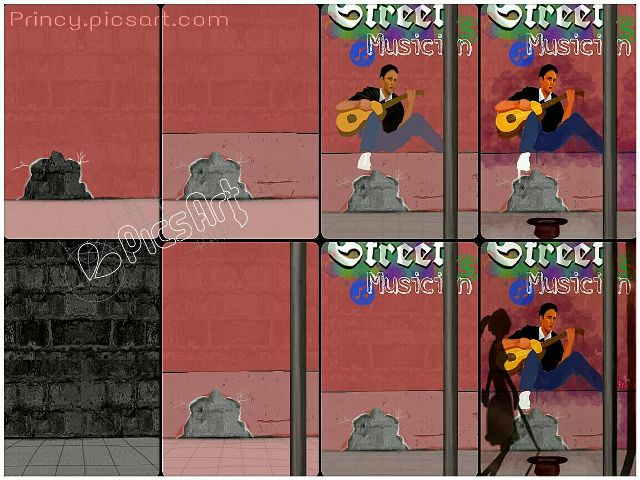 step by step Street Musician drawing
