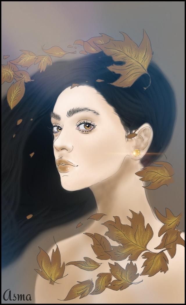 #dcleaf My  #drawing #leaf #digitalart #art #beautiful #girl  If u like it don't forget to vote ❤