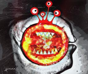 red madewithpicsart monster fun