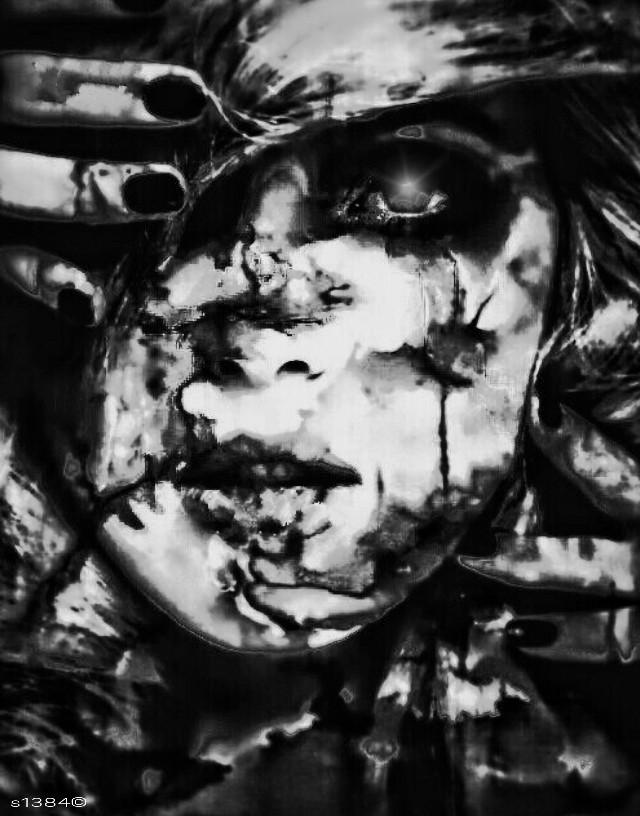 """ BAD FACE "" #artistic #texture #blackandwhite  #hdr #sticker #editstepbystep #drawtool"