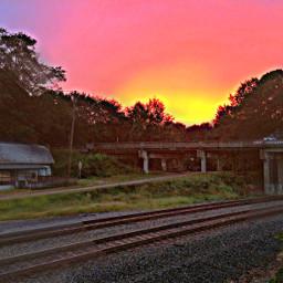 sunset smalltown railroad