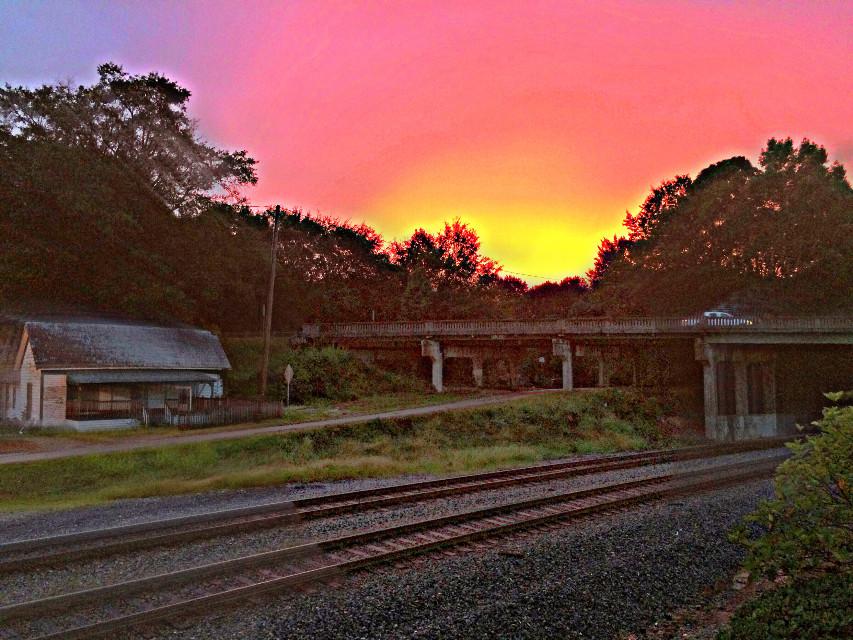 Sunset in my hometown   #sunset  #smalltown  #railroad