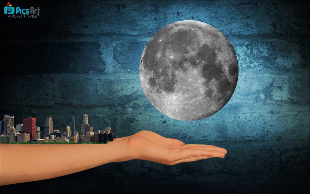 #freetoedit #light #Hands #moon #city  #blue