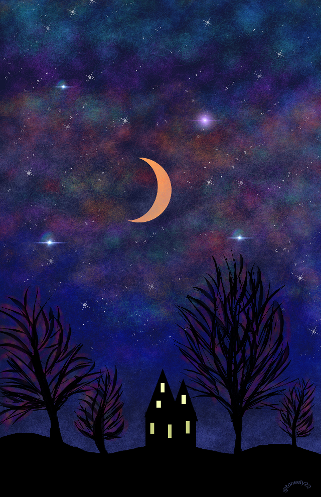 My nightsky drawing. Thank you for your Votes! Www.youtube.com/watch?v=CCTAbqpy-K4 #dcnightsky #art #moon #drawing #sky