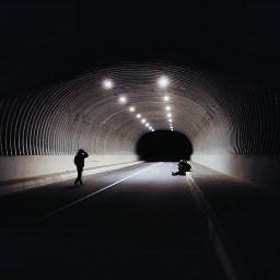 tunnel night people lights
