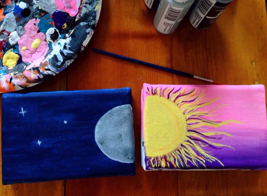 #art #artist #acrylic #canvas #sun #moon #anniewalczyk