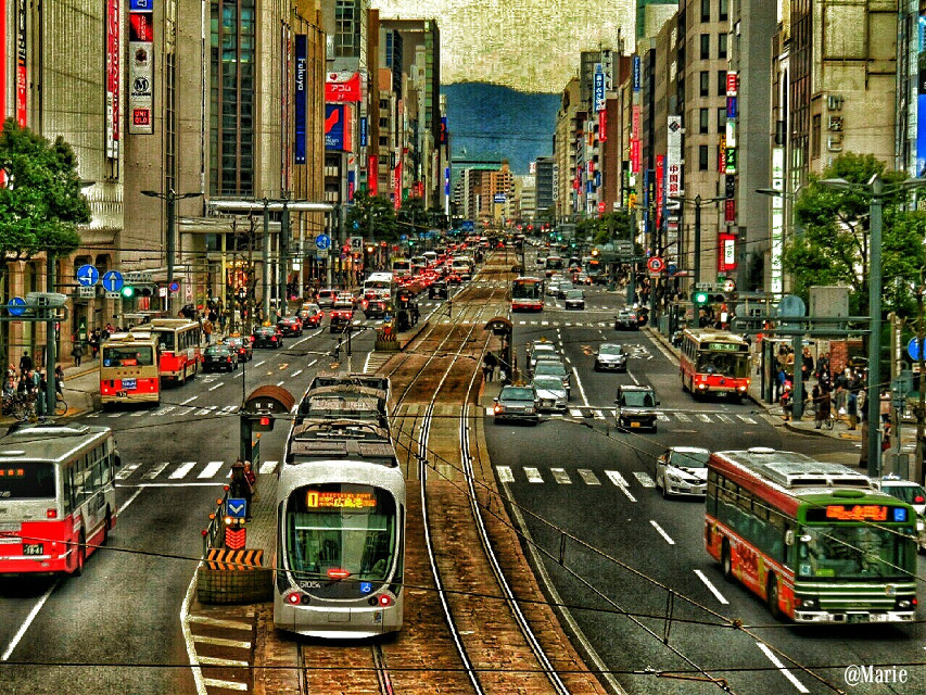 Street snap series  Hiroshima in panorama   #panorama  #street #cars #architecture #japan