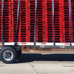 truck pallets red photo